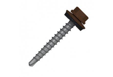 Boorschroeven met 14mm ring 4,8x20 RAL 8011 notenbruin 100 stuks