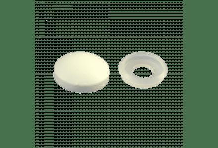 Afdekkapjes met ring 10mm kleur wit 100 stuks