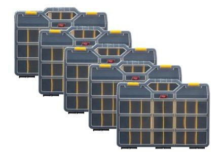 5x Tayg assortimentskoffer met 21 verstelbare vakken (460x350x81)